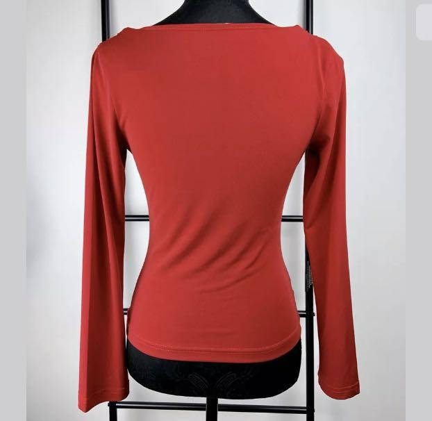 Kitten d Amour Sex Kitten sz 10 red drape cowl neck top shirt blouse retro pinup