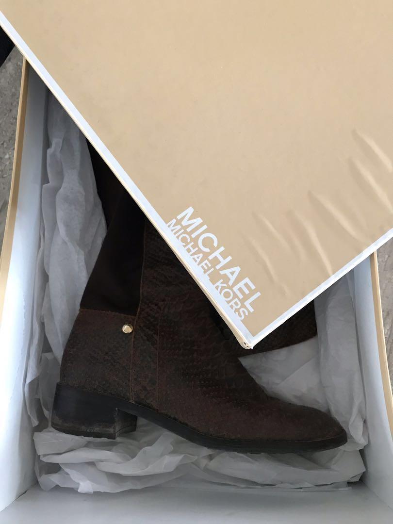 MICHAEL KORS - Snakeskin Knee High Boots - Size 6.5/7