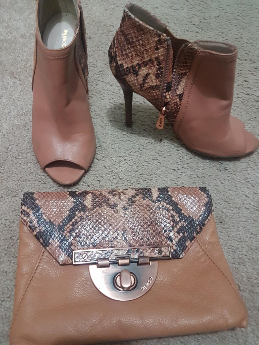 Mimco leather clutch and matching ankle boots