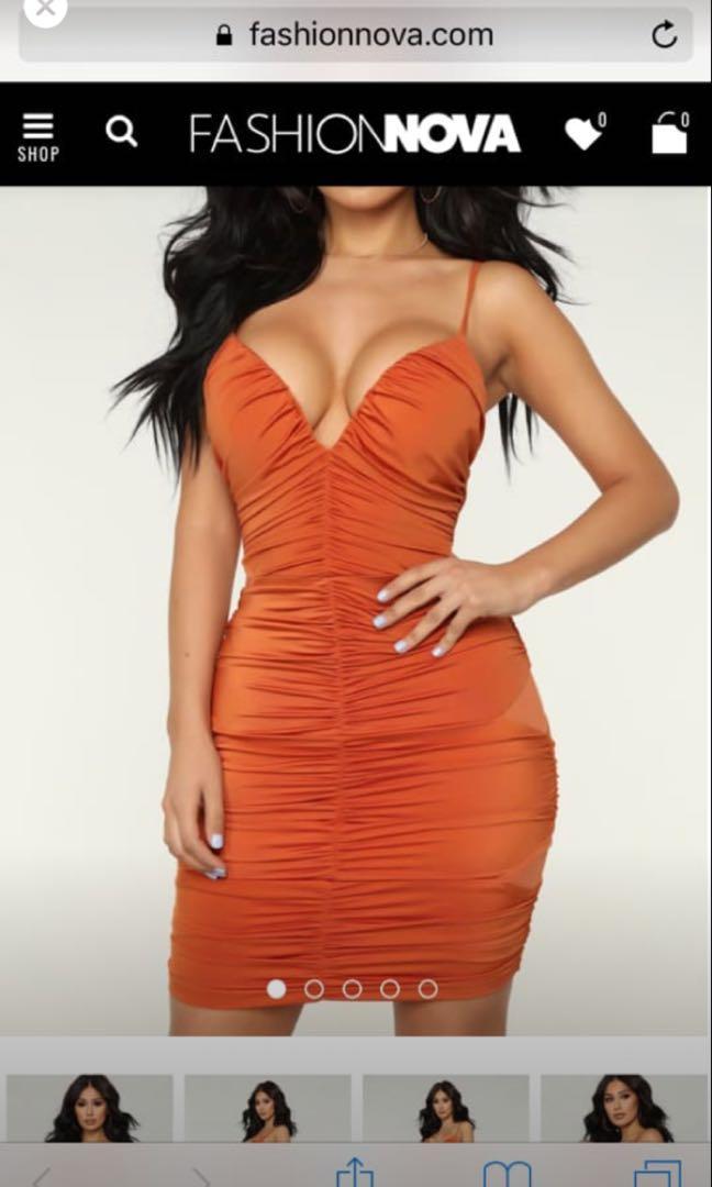 New ruched orange dress from Fashionnova (rrp $55)