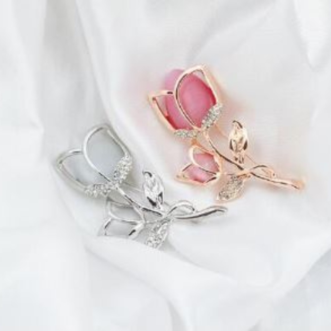 3fbd11f0d Preorder Sale For Pink Opal Rhinestone Brooches Pins, Women's Fashion,  Jewellery, Brooches on Carousell