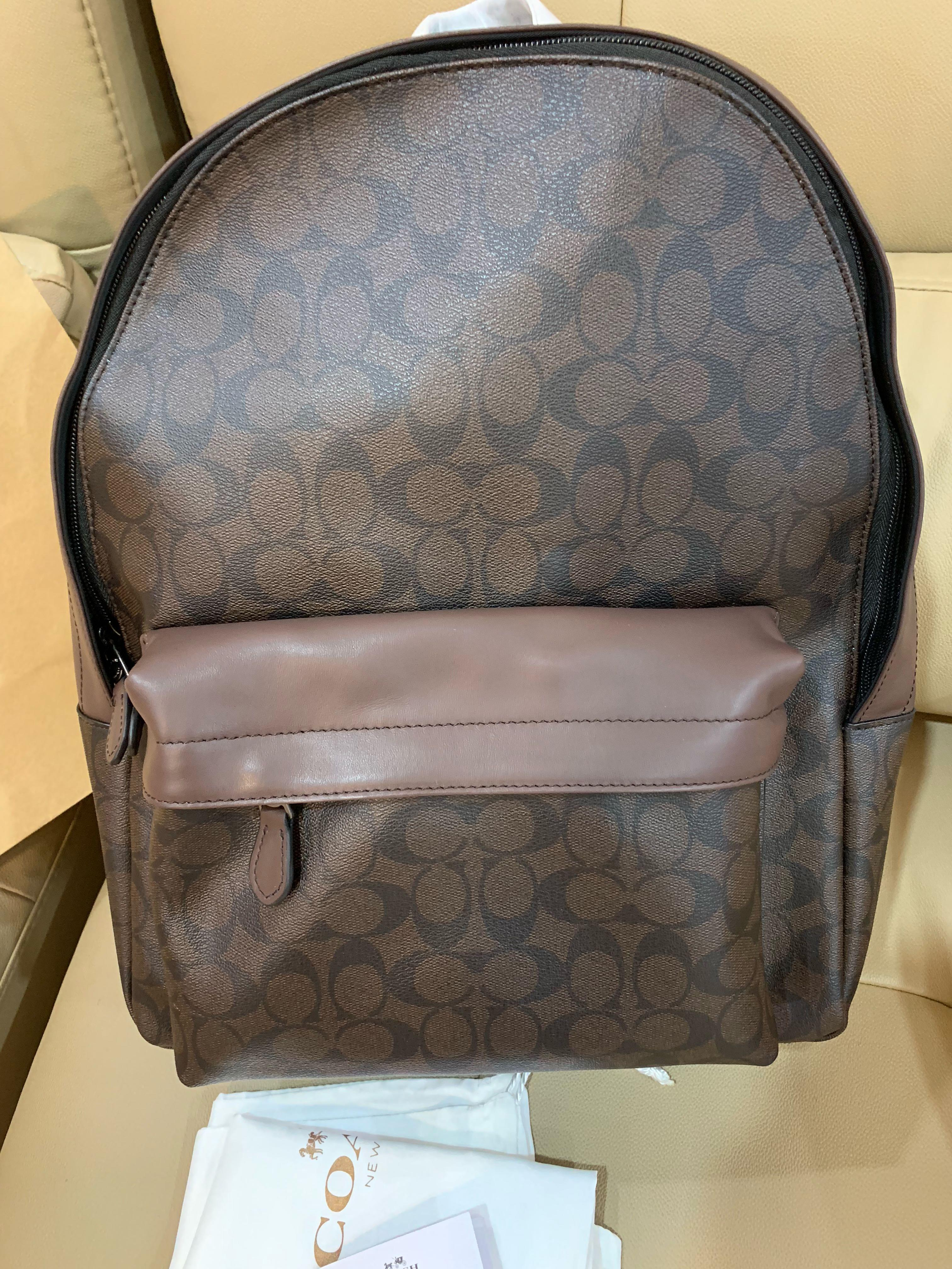 Ready Stock Authentic coach monogram brown backpack 🎒