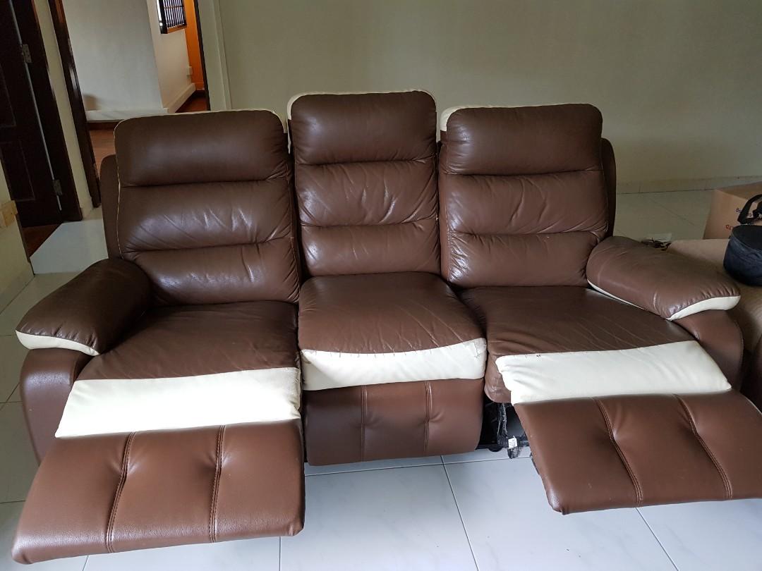 Semi Leather Sofa Set 3 2 With