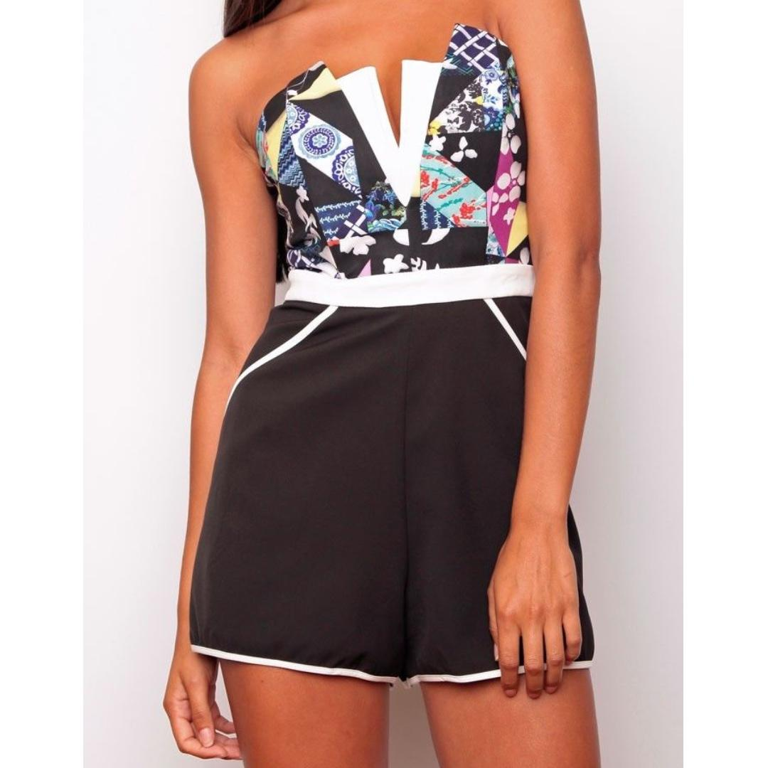 Size 10 Saints and Secrets Prisma Playsuit Womens Ladies Clothing Summer Black