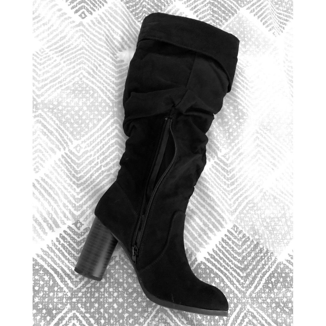 Size 6 Black Long Block Heel Shoes Women's Vintage Boots Suede Leather Knee-High