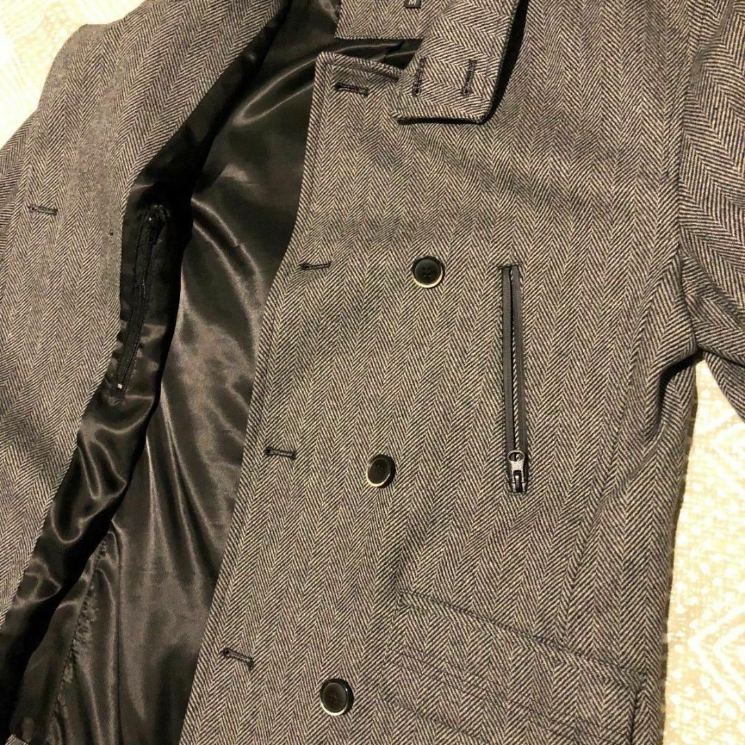 Size Medium Biblos Grey Work Coat Jacket Mens Double Breast