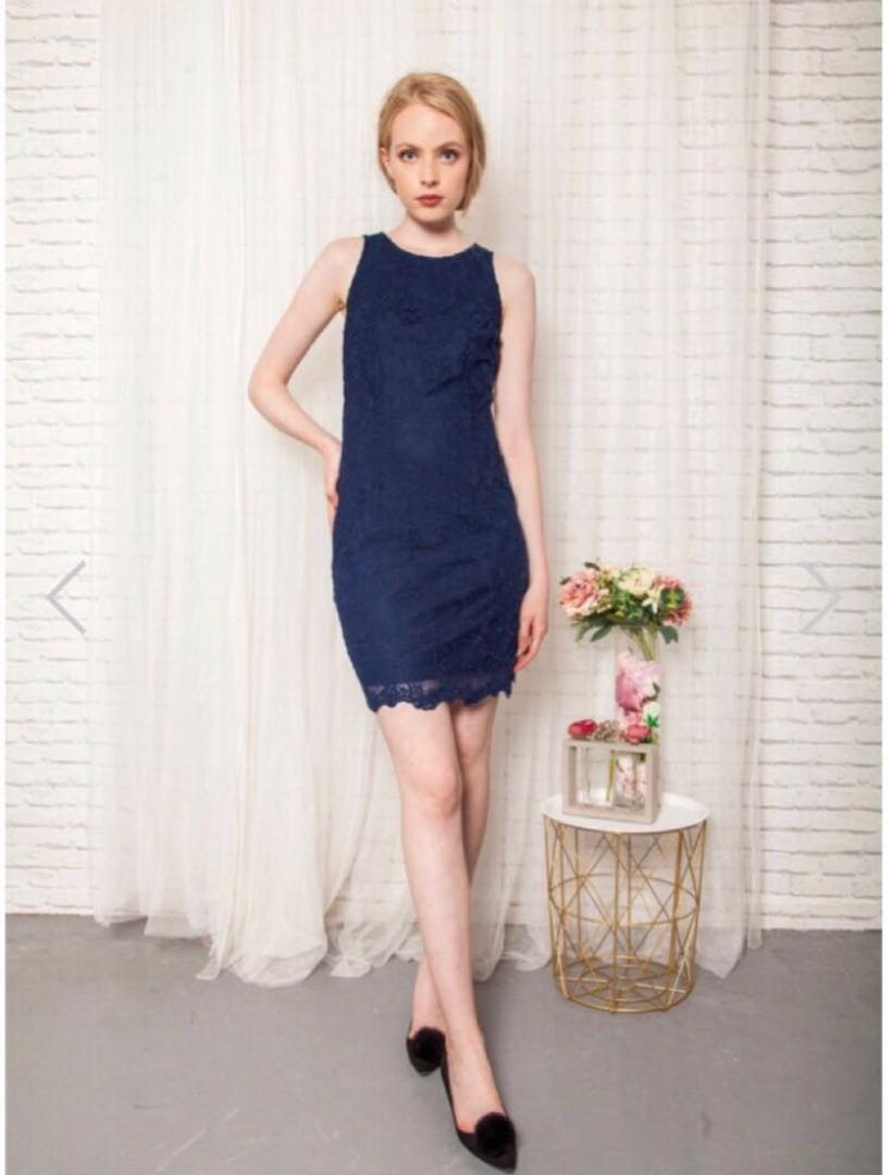 73b7cc50c490 TSW Erine Crochet Lace Dress In Navy blue, Women's Fashion, Clothes,  Dresses & Skirts on Carousell