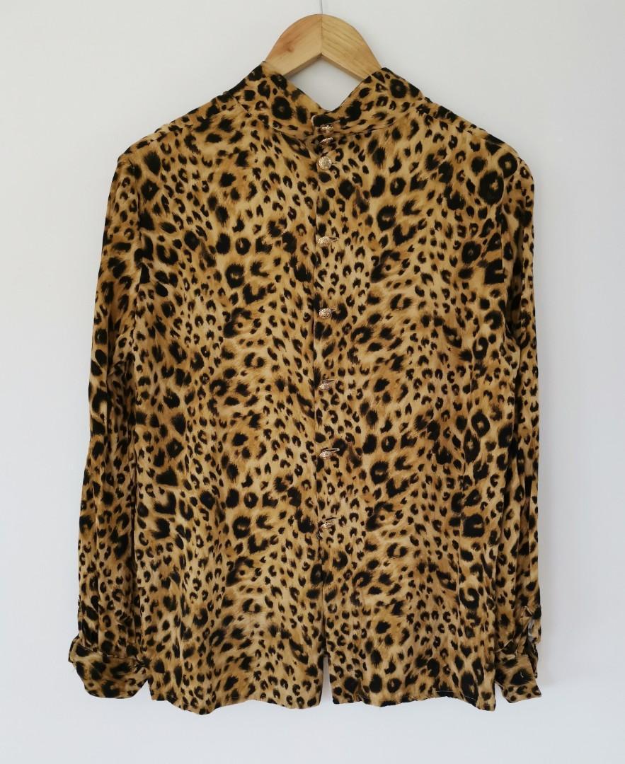 Valentino Leopard Vintage Blouse Top - Size IT 42 (AU 8-10)