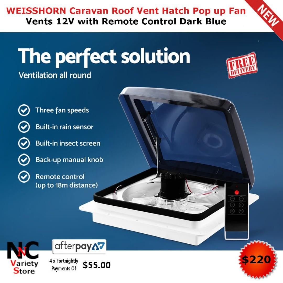 WEISSHORN Caravan Roof Vent Hatch Pop up Fan Vents 12V with Remote Control Dark Blue
