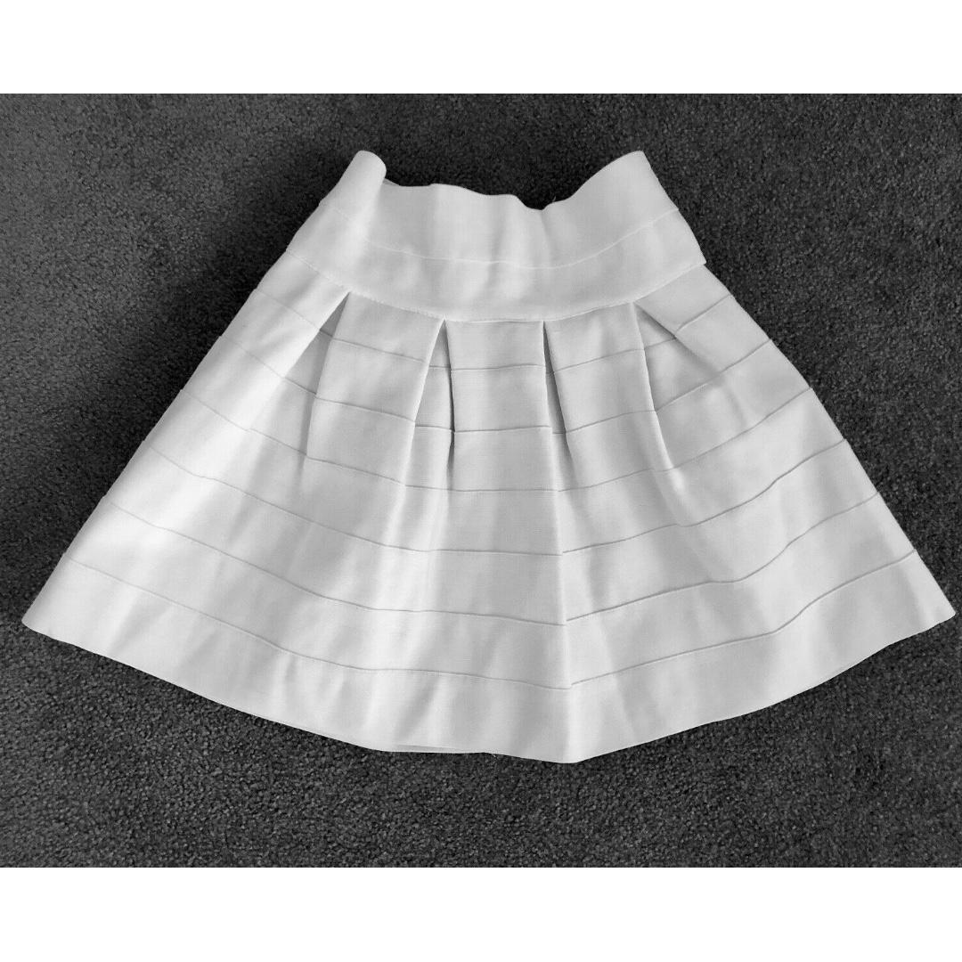Women's High Waist White Stretchy Elastic Puffy A-Line Bubble Skirt Mini Tutu