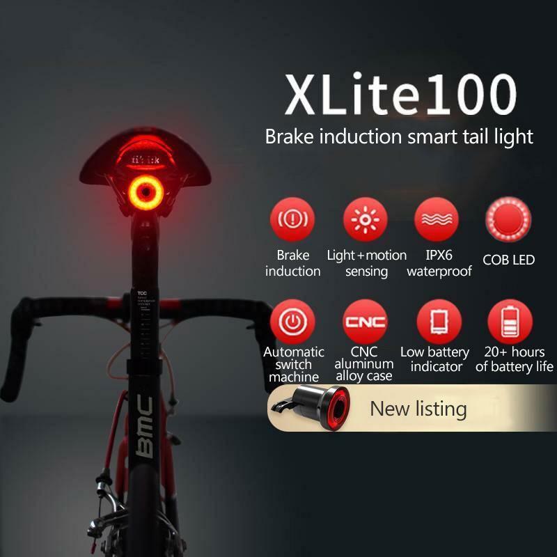 ROCKBROS Waterpoof Smart Bike Bicycle Tail Rear Light USB Brake Sense Auto LED