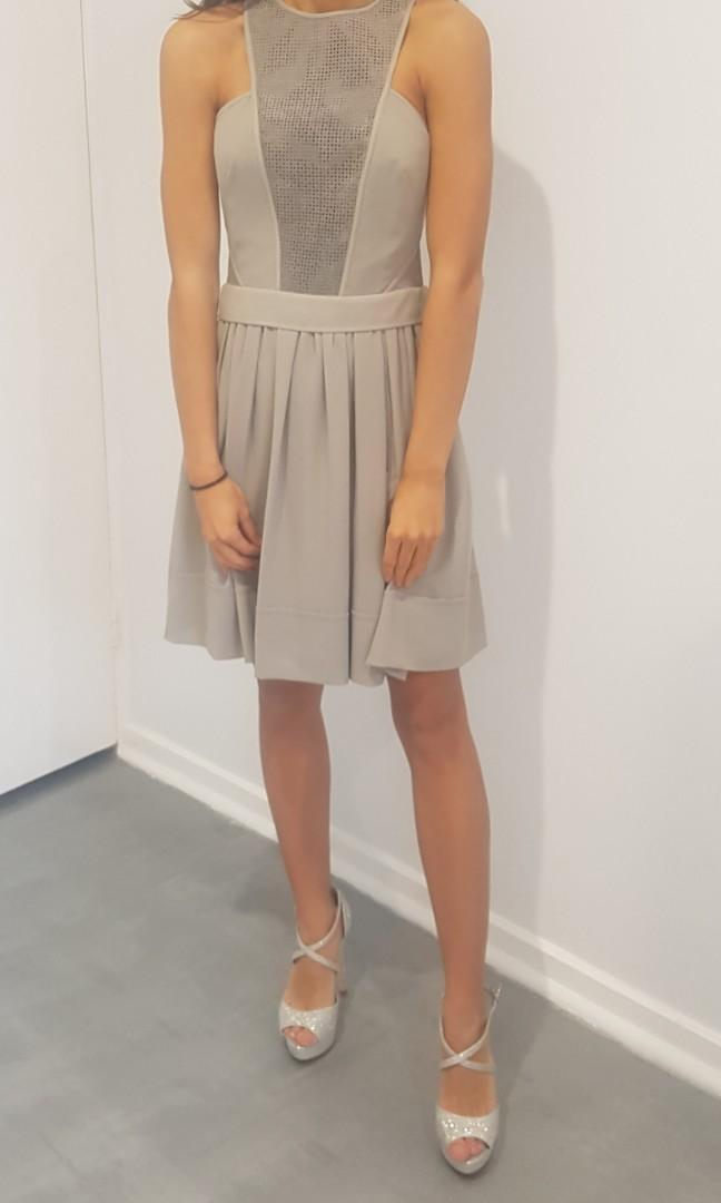 Yttrium BNWT gray leather and fabric cocktail dress size 1