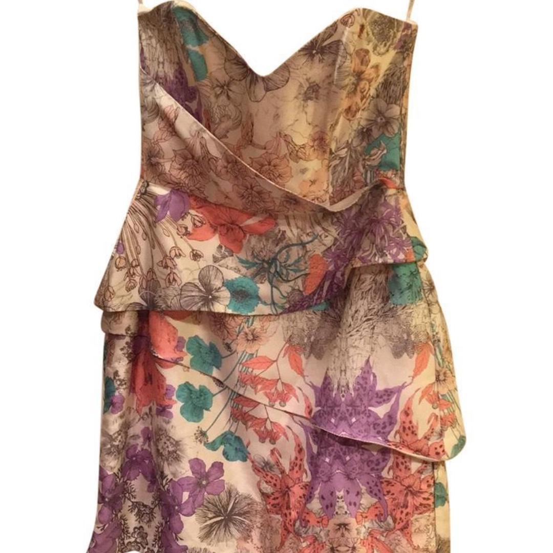 ZIMMERMANN Size 1 Mini Silk Floral Vertigo Strapless Panel Cocktail Dress Formal