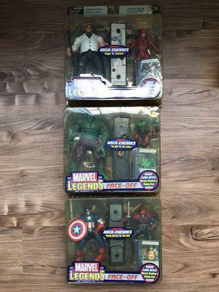 🚚 Lot of 3x Marvel Legends Face-Off Kingpin Daredevil Captain America Red Skull Hulk Leader