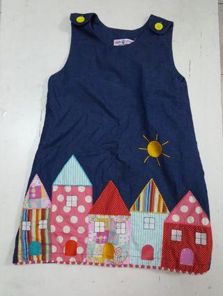 Girls Blue Dress with Houses