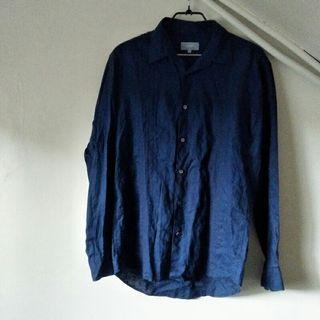 🚚 JASPAL 麻料x貝殼釦 編織長袖 休閒襯衫