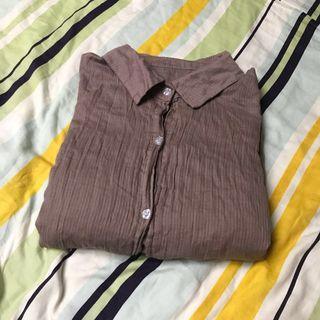 🚚 長版藕色棉麻罩衫