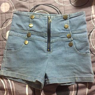 🚚 高腰 藍色牛仔拉鍊短褲