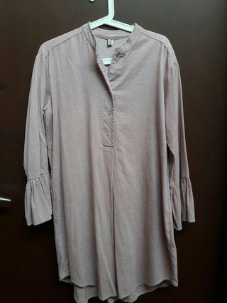 Light Pink Thin Corduroy Long Sleeve Tunic Style Size L