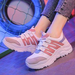 韓系 少女 粉藍 老爹 白鞋