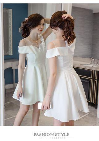 「現貨」🔥一字領露肩高腰修身連身款/白色小禮服