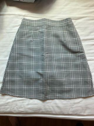 Gingham checkered a-line skirt