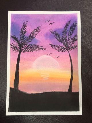 Scenery pastel drawing