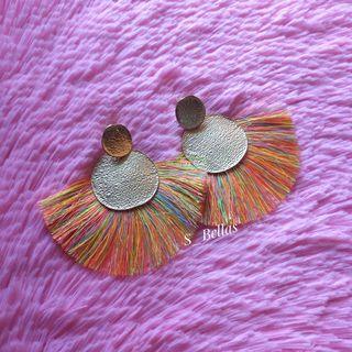 Tassel Earrings with Round Metal