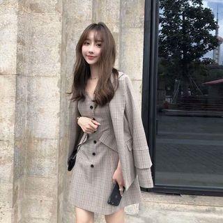 Set blazer and dress plaid checkered Korean style #Carouselland