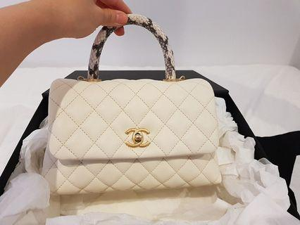 Authentic Chanel cocohandle flap bag white mini (ivory)