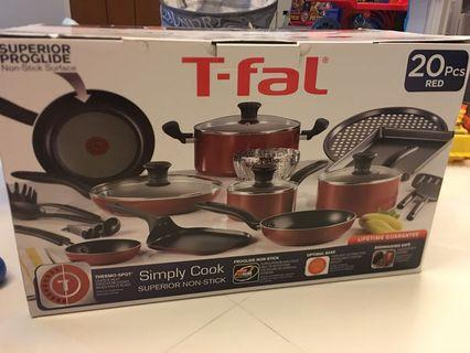 T-fal Simply Cook 20 pcs red cookware set