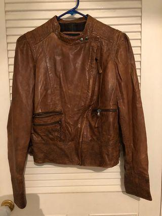 MANGO distressed leather jacket