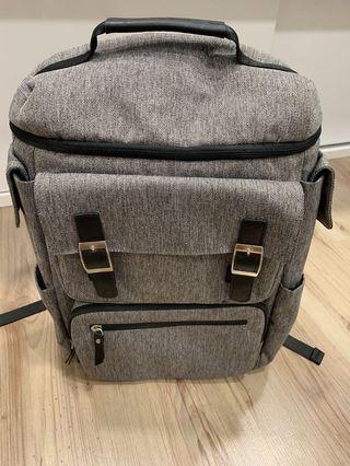 🚚 Slick Light Grey Polyester Backpack from Korea