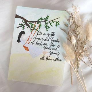 Lady on swing illustration quote