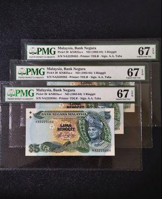 🇲🇾 Malaysia 5th Series RM5 Banknote~First Prefix NA 3pcs Consecutive Number~PMG 67EPQ Superd Gem UNC