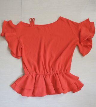 橙紅色河葉袖紗質上衣