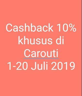 Cashback 10% dari Carouti