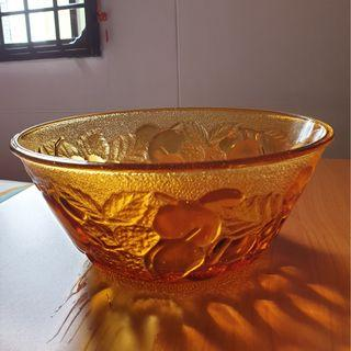 Brown Glass Bowl with fruit patterns