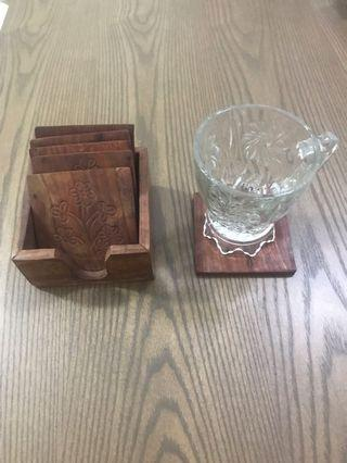 Wooden Coasters - 6 pcs in holder