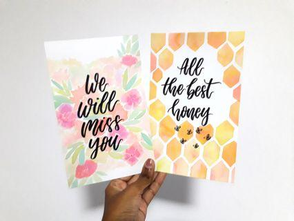 Customizable Handmade Cards - watercolour and calligraphy