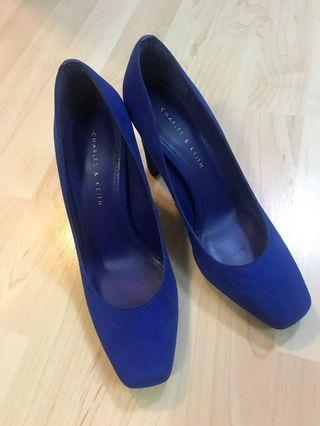 Charles and Keith blue heels