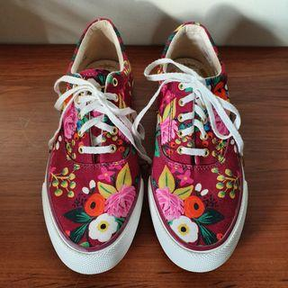 Keds X Rifle Paper Co Vintage Blossom Burgundy Sneakers