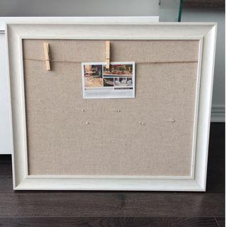 Beige Linen Wood Frame Pin Board