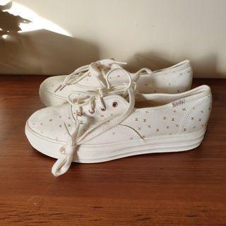 Keds Triple Platform Sneakers Women's White & Gold Stars
