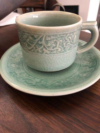 7 celadon coffee/tea cups and saucers