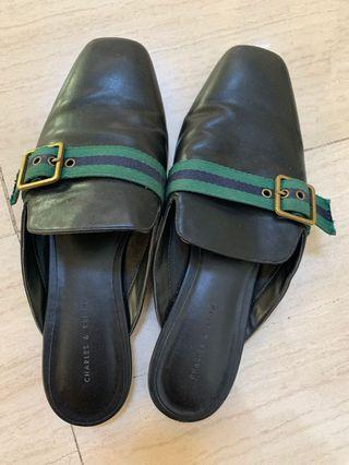 Charles & Keith black flats with green stripe