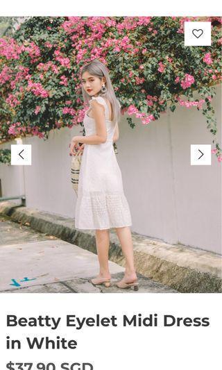 bnwt rtp $37.90 mfw beatty eyelet midi dress in white