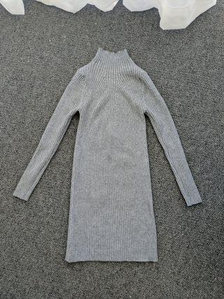 Grey knit fitted dress - Asian size M (approx AU XS)