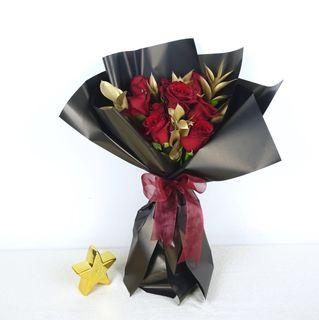🚚 20% OFF Roses & Golden Leaves Bouquet | Flower Delivery | Birthday Flowers | Anniversary Flowers