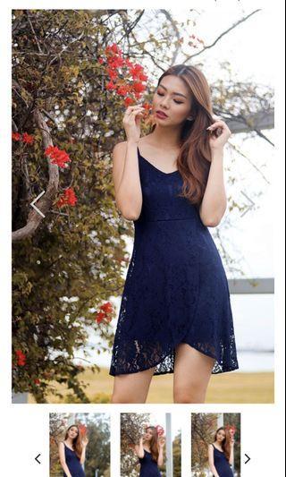 🚚 LOVET TAYLOR LACE OVERLAP DRESS (NAVY)